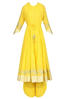 Yellow Gota Patti Work Jacket Kurta, Inner and Pants Set
