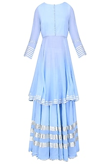 Light Blue Gota Patti Work Kurta and Skirt Set