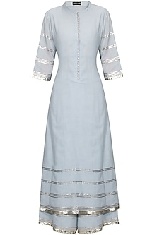 Serenity blue and silver gota patti work pakistani kurta and pyjama set