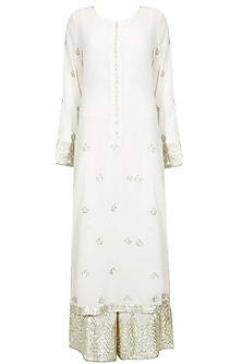 White and silver gota patti work kurta and pyjama set