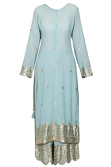 Light blue and gold gota patti work pakistani kurta and sharara set