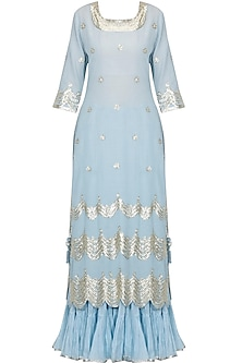 Limpet blue and gold gota patti work kurta and frilled skirt set