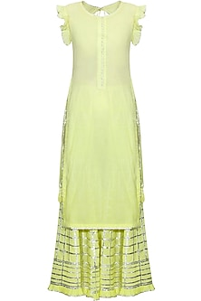 Lemon yellow and silver gota patti work kurta and sharara set
