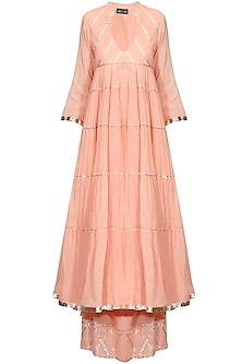 Peach gota patti work flared anarkali and pyjama set