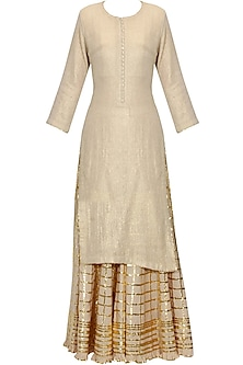 Beige and gold gota patti work kurta and checkered sharara set