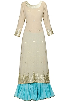 Beige gota patti work kurta and turquoise blue crushed skirt set
