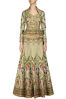 Gold Heavy Embroidered Front Open Jacket Lehenga Set by Samant Chauhan
