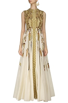 Ivory and Gold Front Open Heavy Zari Embroidered Gown by Samant Chauhan