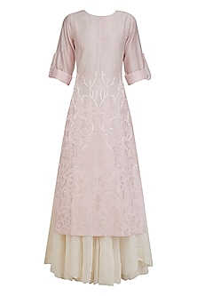 Pink Floral Embroidered Kurta and White Inner Set