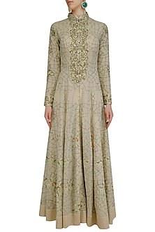 Nude Floral Embroidered Front Open Flared Gown by Samant Chauhan