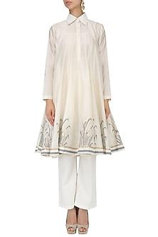 White Block Print Kalidaar Kurta and Palazzo Pants Set by Samant Chauhan