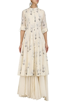 White Leaves Block Print Kurta and Inner Set by Samant Chauhan