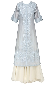 Blue Floral Embroidered Kurta and Inner Set