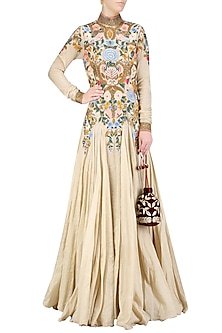 Gold Silk Thread and Zari Floral Embroidered Gown by Samant Chauhan