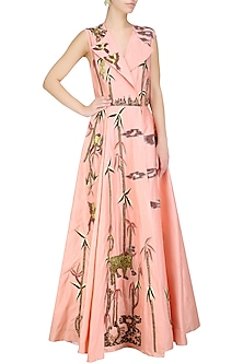 Peach Silk Thread and Zari Floral Embroidered Angrakha Style Gown by Samant Chauhan