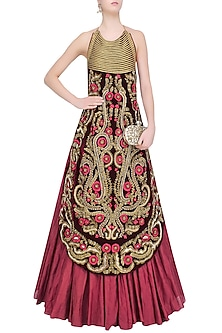 Maroon Floral Embroidered Halter Neck Gown by Samant Chauhan