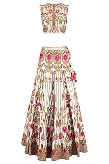 Off White and Gold Zari Floral Embroidered Lehenga Set