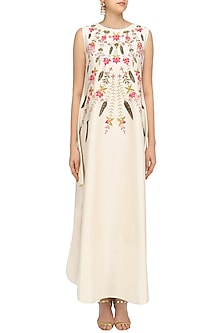 Off White High Low Maxi Dress by Samant Chauhan