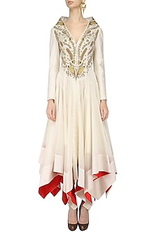 Ivory Zari Embroidered High Low Front Open Gown by Samant Chauhan