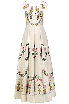 Off White Embroiderd Peplum Style Neckline Flared Gown by Samant Chauhan