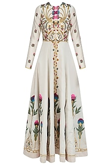 Off White Floral Embroidered Front Open Gown