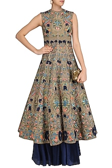 Grey and Blue Embroidered Gown by Samant Chauhan
