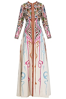 Off White Front Open Embroidered Gown