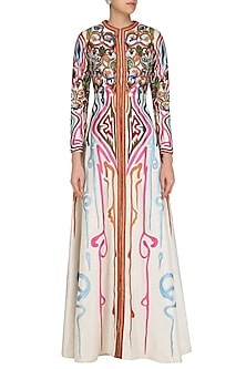 Off White Front Open Embroidered Gown by Samant Chauhan