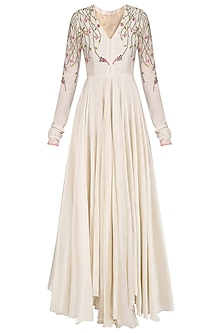Off White Anarkali Style Gown