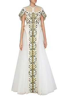 Off White Front Open Embroidered Gathered Gown by Samant Chauhan
