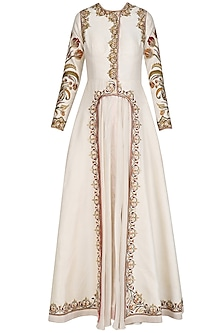 Off White Front Open Layered Gown