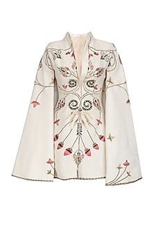 Off White Embroidered Jacket Dress by Samant Chauhan