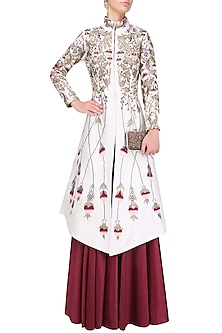 Off White Silk Thread and Zari Embroidered Jacket with Red Skirt by Samant Chauhan
