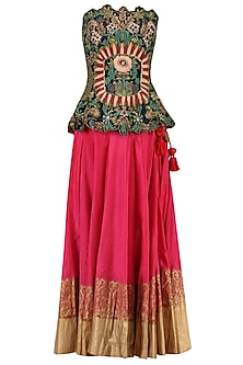 Navy Blue Floral Embroidered Peplum Top and Lehenga Set by Samant Chauhan
