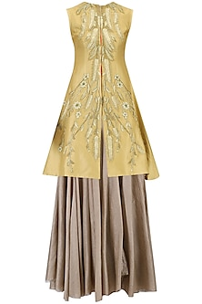 Beige Pleated Tunic and Embroidered Jacket Set