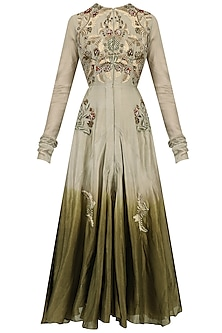 Grey Ombre Zari Embroidered Anarkali Set by Samant Chauhan