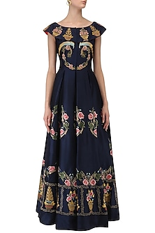 Navy Blue Floral Embroidered Front Open Flared Gown by Samant Chauhan
