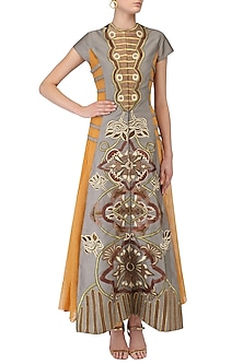 Grey Embroidered Front Open Layered Gown by Samant Chauhan
