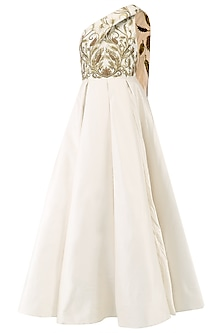 Off White Floral Embroidered One Shoulder Gown by Samant Chauhan