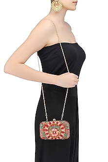 Red Floral Embroidered Rectangular Box Clutch by Samant Chauhan Accessories