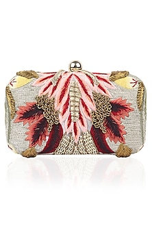 Gold Silk Thread and Zari Embroidered Box Clutch by Samant Chauhan Accessories