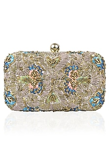 Grey Silk Thread and Zari Embroidered Box Clutch by Samant Chauhan Accessories