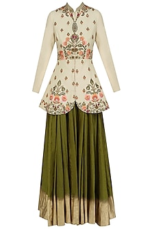 Gold Floral Embroidered Jacket with Olive Shaded Skirt by Samant Chauhan