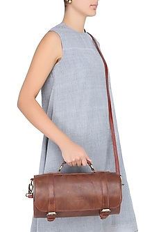 Brown Silk Thread and Zari Embroidered Cylindrical Leather Bag