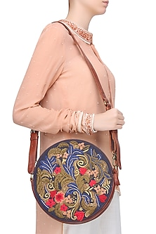 Brown and Blue Floral Embroidered Round Leather Bag