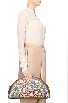 Brown Floral Embroidered Half Moon Oversized Leather Clutch