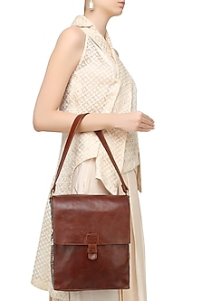Brown Floral Embroidered Leather Messenger Bag