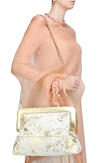 Off White and Gold Foil Applique Oversized Leather Frame Bag by Samant Chauhan Accessories