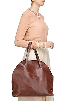 Brown Pull Up Leather Tote Bag