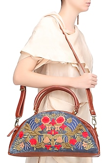 Blue and Brown Floral Embroidered Half Moon Leather Duffle Bag